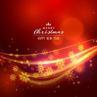 beautoful röd jul bakgrund med glänsande våg och snöflinga