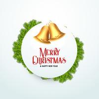 campana de Navidad dorada con hojas de abeto para la temporada de festivales