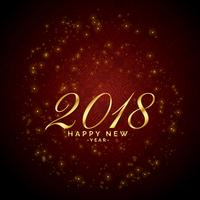 Fondo rojo brillante de destellos para 2018 feliz año nuevo celebratio