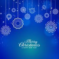 Hermoso fondo azul feliz Navidad con creativo bal de Navidad