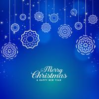 beautiful blue merry christmas background with creative xmas bal
