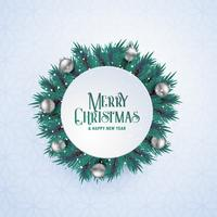 christmas tree leaves circle frame for seasonal greeting