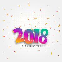 Diseño de tarjeta de feliz año nuevo 2018 con confeti celebración
