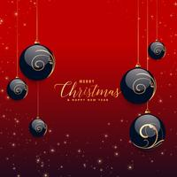 belles boules décoratives de Noël avec fond de paillettes