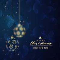 Hängender blauer Hintergrund der goldenen Weihnachtskugeln