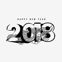Gott nytt år 2018 design med blommig dekoration