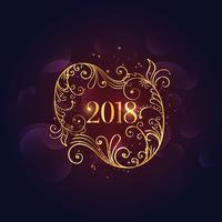 premium guld blommigt lyckligt nytt år 2018 bakgrund
