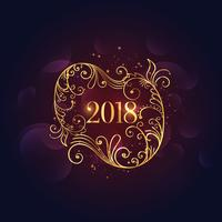 premium golden floral happy new year 2018 background