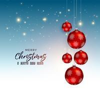 Diseño festivo de felicitación navideña con bolas rojas colgantes.