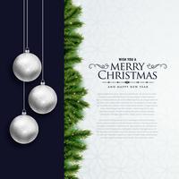 Diseño de tarjeta elegante de feliz Navidad con bolas colgantes