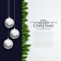 merry christmas elegant card design with hanging balls