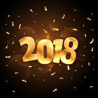 Celebración de la fiesta de año nuevo brillante dorado 2018 con confet caída