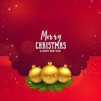 awesome christmas festival design with golden balls and leaves