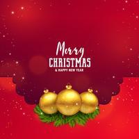 diseño impresionante festival de Navidad con bolas de oro y hojas