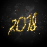 creative 2018 glitter text for happy new year celebration