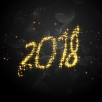 Texto creativo de 2018 glitter para feliz año nuevo.