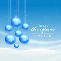 winter season merry christmas landscape vector design with hangi