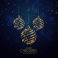 blue christmas holiday background with hanging balls and sparkle