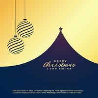 diseño de saludo de Navidad de oro premium con árbol y b colgando