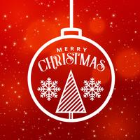 Festival de Navidad saludo diseño gráfico con bola colgante y