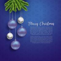 diseño de saludo de navidad con bolas colgantes