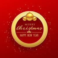 feliz navidad diseño con marco dorado y bolas