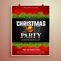 Plantilla de diseño de cartel de fiesta de Navidad con hojas de abeto