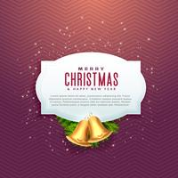 Hermoso diseño de Navidad con espacio de texto y campana de oro.