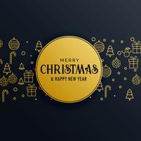 premium jul hälsning design gyllene bakgrund