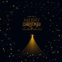 design de cartaz de Natal preto com árvore de Natal brilhante