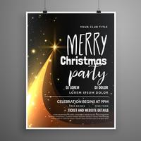 Diseño de flyer de la fiesta de la feliz Navidad oscura con el árbol creativo desig
