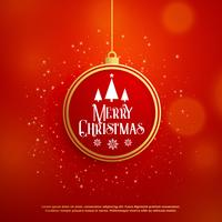 beautiful christmas greeting design with ball and glitter