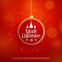 Hermoso diseño de saludo navideño con bola y brillo.