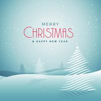Elegante tarjeta de felicitación navideña con nieve y árbol creativo.