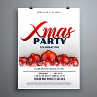 christmas party celebration flyer design with red decoration bal