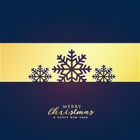 Elegante diseño de saludo de feliz navidad con copos de nieve