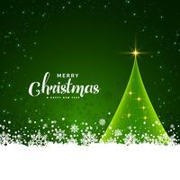 design de cartão de Natal verde com fundo de flocos de neve