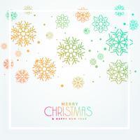 colorido design de flocos de neve de saudação de Natal belo design