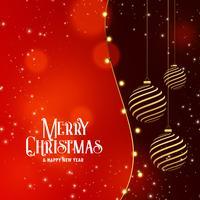 Fondo feliz celebración de Navidad con bola de oro colgante