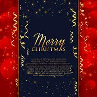 feliz celebración de Navidad saludo con confeti dorado y gl