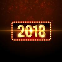 shiny golden 2018 happy new year greeting background design