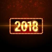 glänsande guld 2018 gott nytt år hälsning bakgrundsdesign