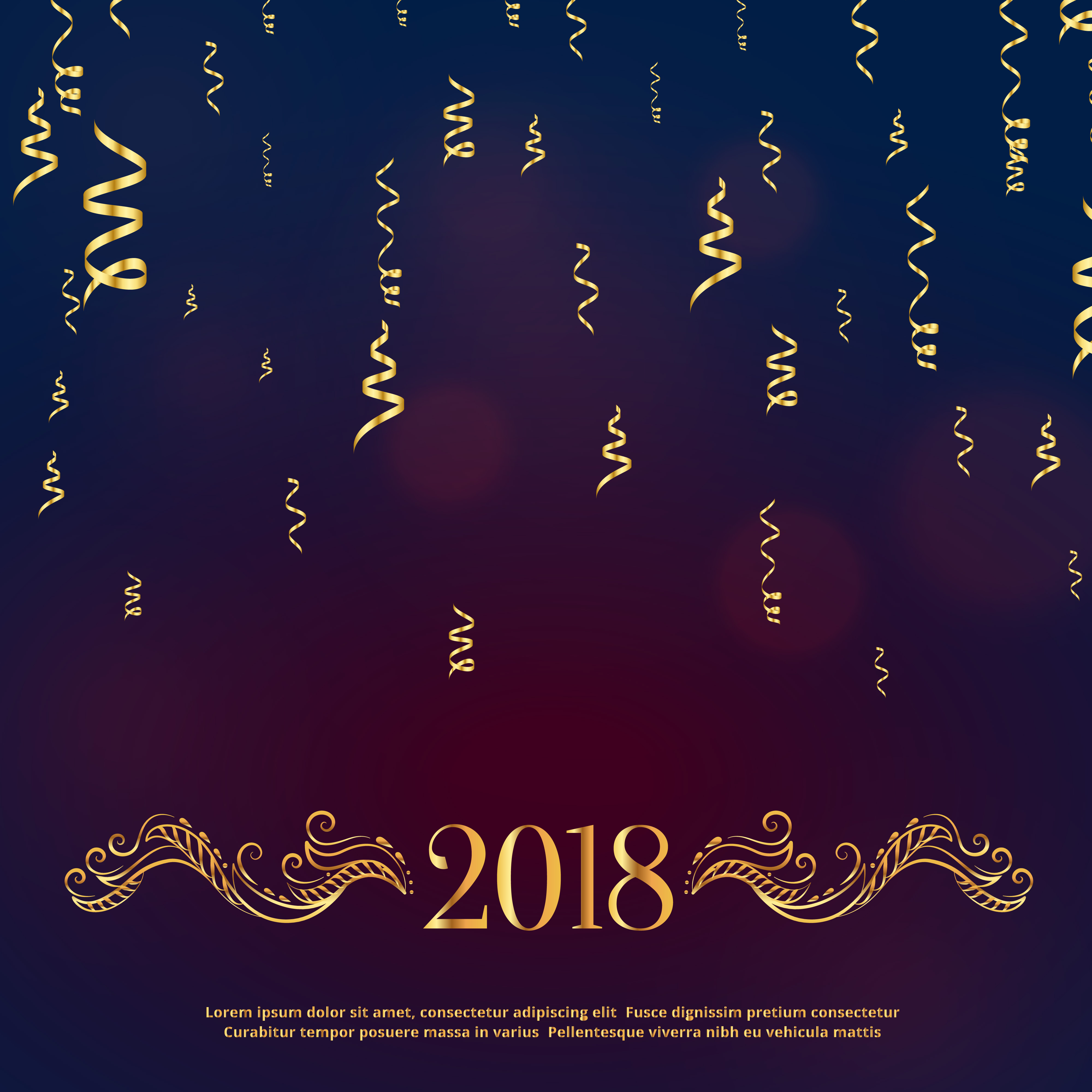 Luxury Style 2018 Happy New Year Greeting With Golden Floral Dec