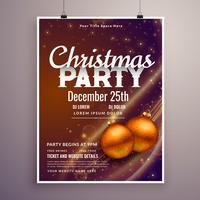 beautiful christmas party poster design template with light effe