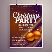 Plantilla hermosa del diseño del cartel de la fiesta de Navidad con effe ligero