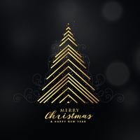 premium golden christmas tree design made with lines background
