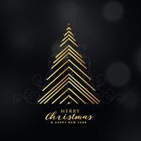 Diseño de árbol de navidad dorado premium hecho con líneas de fondo.