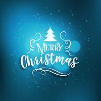 blå glatt jul hälsning bakgrund med glöd effekt