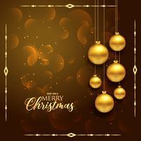 premium jul hälsning design med hängande gyllene bollar