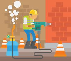Pneumatic Drill Vector Illustration